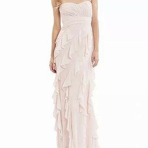Badgley Mischka Pink Ruffle Full Length Gown Sz 14